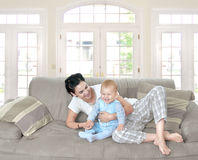 Baby and mother at home Royalty Free Stock Photo