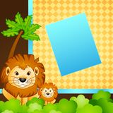 Baby and Mother Lion in Jungle Royalty Free Stock Image