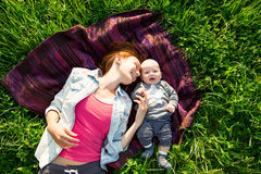 Baby and mother on nature at park Stock Photography