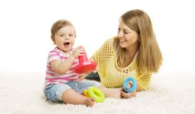 Baby and Mother Play Toy Rings, Infant Kid Playing Block Toys. Baby and Mother Play Toy Rings, Infant Kid Playing Building Blocks, Children Early Education and royalty free stock image