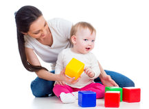 baby and mother playing Royalty Free Stock Images