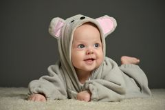 Baby  in mouse  costume Stock Images