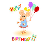 Baby mouse happy birthday greeting card Royalty Free Stock Photo
