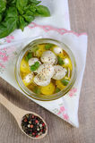 Baby mozzarella in oil with spices Stock Image