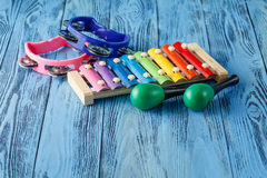 Baby musical instruments collection maracas, xylophone and tambo Royalty Free Stock Images
