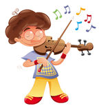 Baby musician. Funny cartoon and vector character Stock Image