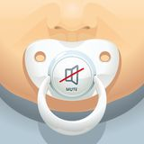 Baby mute. Illustration of a baby with a pacifier in mouth. What to do if the baby cries? Just turn off the sound Royalty Free Stock Photography