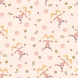 Baby naadloos patroon met leuk hand getrokken bloem en blad Vector Illustratie