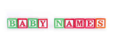 Baby Names Royalty Free Stock Photo