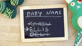 Baby names written Stock Image