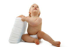 Baby with nappy Royalty Free Stock Photography
