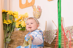 Baby in national  Ukrainian costume Royalty Free Stock Image