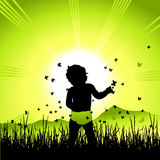 Baby on nature, black silhouette Stock Images
