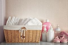 Free Baby Necessities On White Chest Royalty Free Stock Photo - 105535605