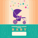 Baby New Born Greeting Card Stroller Stock Image