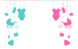 Baby new born hanging baby boy and baby girl symbols. Background Royalty Free Stock Images