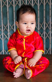 Baby New Year. Chinese New Year with a wooden floor with a steel door in the background royalty free stock photos