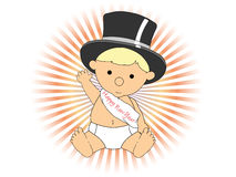 Baby New Year wearing hat sash waving adorable Royalty Free Stock Image