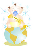 Baby New Year on world Stock Image
