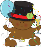 Baby New Years Black. A baby dressed in a diaper and top hat Stock Image