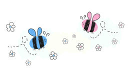 Baby newborn baby boy baby girl symbols with bee. Background stock illustration