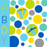 Baby newborn birth announcement card boy with baby feet, dummy a. Baby newborn birth announcement card for a boy with blue, grey, purple and yellow circles with stock illustration