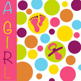 Baby newborn birth announcement card girl with baby feet, dummy. Baby birth announcement card with the text A Girl on a bubble pattern of pink, yellow, purple vector illustration