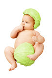 Baby newborn in cabbage leaves - isolated Stock Photography