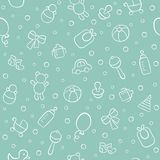 Baby. Newborn. Cute seamless pattern in doodle and cartoon style. Vector background for printing, banner, photo album and other stock illustration