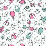 Baby. Newborn. Cute seamless pattern in doodle and cartoon style. Blue and pink. royalty free illustration