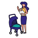 Baby newborn design. Woman holding a baby newborn and baby carriage over white background, vector illustration vector illustration