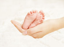 Baby Newborn Feet Mother Hands. New Born Kid Foot, Family Love. Baby Newborn Feet in Mother Hands. New Born Kid Foot, Family Love Concept Stock Image