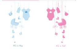 Baby newborn hanging baby boy baby girl symbols illustration. Its a boy. Its a girl Royalty Free Stock Photo