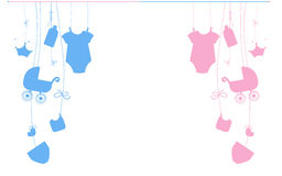 Baby newborn hanging baby boy baby girl symbols illustration Royalty Free Stock Image