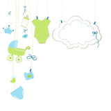 Baby newborn hanging baby girl symbols card illustration Royalty Free Stock Photography