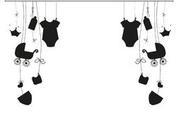 Baby newborn hanging baby boy baby girl symbols illustration black and white. Background vector illustration