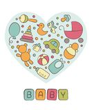 Baby. Newborn. Heart. Cute card in doodle and cartoon style. Vector. royalty free illustration