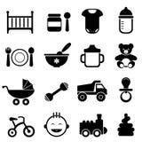 Baby and newborn icon set. In black stock illustration