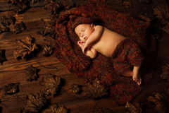Baby newborn portrait, kid sleeping in hat Royalty Free Stock Images