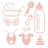 Baby and Newborn Set for a Girl Royalty Free Stock Photography