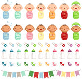 Baby Newborn Vector Set. A vector set of cute colorful baby newborn royalty free illustration