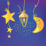 Baby night background with moon, stars Stock Photo