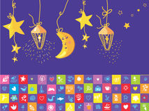 Baby night banner with star, moon Stock Photography