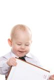 Baby with notepad Royalty Free Stock Image