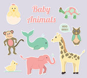 Baby Nursery Animals Vector Set. Baby animals vector set for nursery or baby shower Royalty Free Stock Photo