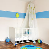 Baby nursery with bed Stock Photos