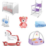 Baby Nursery Icon Set. Variety of baby nursery icons including crib, rocking chair, baby monitors, teddy bear, blanket, rocking horse and playmat Royalty Free Stock Image