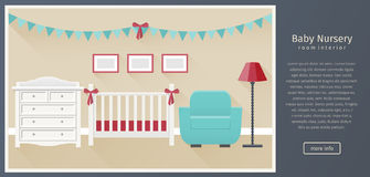 Baby nursery interior. Flat vector illustration. Banner of baby nursery room interior with white furniture in flat style with long shadows. Modern children`s Royalty Free Stock Photos