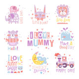 Baby Nursery Room Print Design Templates Collection In Cute Girly Manner With Text Messages Stock Images