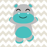 Baby nursery wall with  cartoon of cute baby hippo on chevron background suitable for baby wallpaper Royalty Free Stock Photos